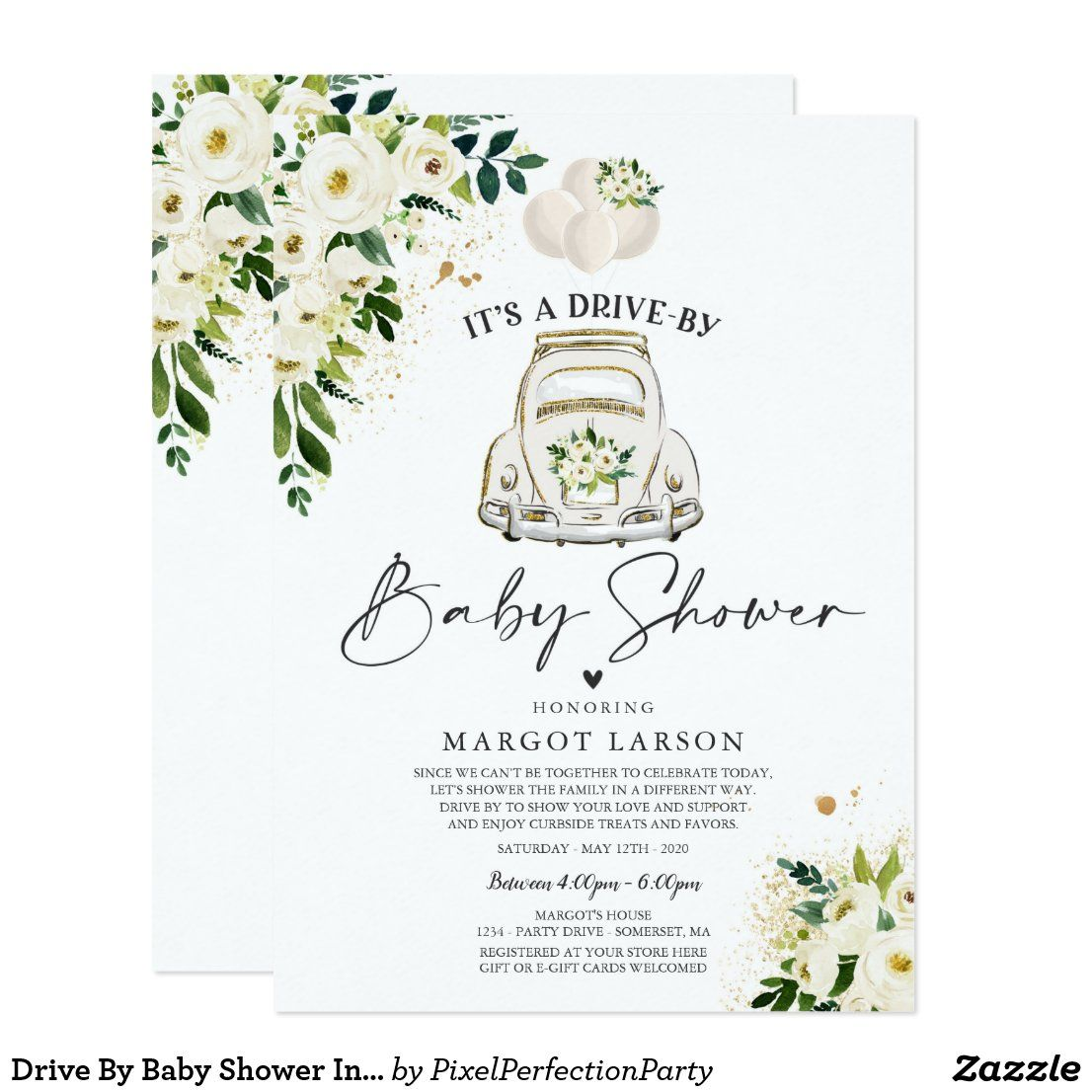 Drive By Baby Shower Invitation Gender Neutral Zazzle