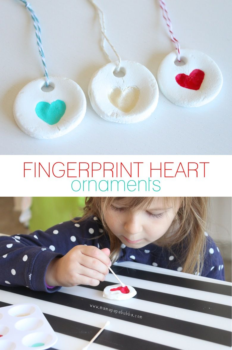Fingerprint Heart Ornaments -   25 diy ornaments kids ideas