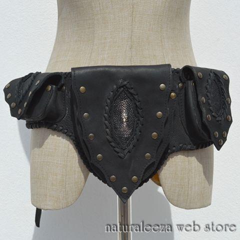 Leather three bags hippie style - ★naturaleeza★-遊び着いっぱい◎ヒッピー・エスニック・レイブファッション-  #naturaleeza #onlinestore #hippiestyle #hipbag #fashionstyle