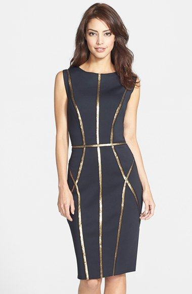 71c3a4556fd Tadashi Shoji Sequin Trim Neoprene Sheath Dress available at  Nordstrom.  women s fashion and style.