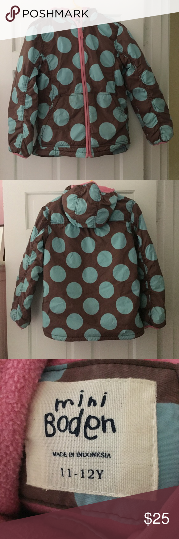 Mini Biden polka dot coat Mini Boden polka dot jacket. Zip up jacket. Good condition. Mini Boden Jackets & Coats