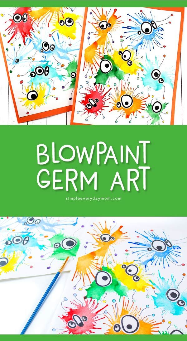 Make This Cute Germ Blow Painting Art With Straws - Blow painting art, Kids art projects, Art for kids, Painting for kids, Preschool art, Preschool crafts - This germ blow painting art is perfect for kids who are learning about the human body  It uses painting with straws to create a fun abstract art project!