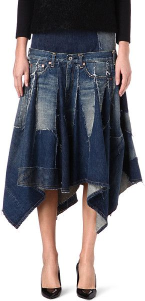 307611113b junya watanabe denim skirt | Junya Watanabe Drop Waist Denim Flared Hem  Skirt in Blue (Indigo .