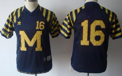 Michigan Wolverines  16 Denard Robinson Navy Blue Throwback Kids Jersey 5c0247a94