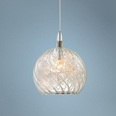 Possini Euro 4 1 2 Wide Swirl Wire Gl Mini Pendant Light