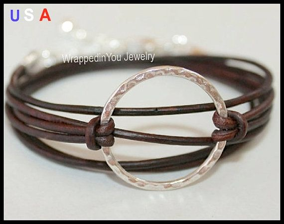 LEATHER Wrap Boho Bracelet -  Silver Infinity Circle Charm Triple Wrap Natural / Distressed / Metallic Leather w/ Extension Chain - 710