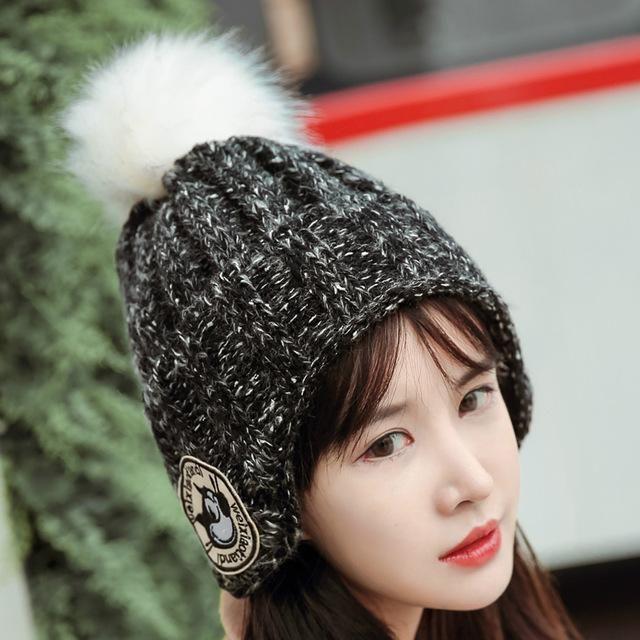 Women Men Winter Knitted Cap Unisex Pom Poms ball Star Dog labeling Beanies  Hat Ear protection hat Skullies Beanie Hat Gorros d5266638e
