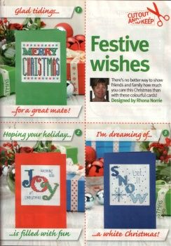 Cross stitch Christmas cards.  Cross stitch charts are on next pages.