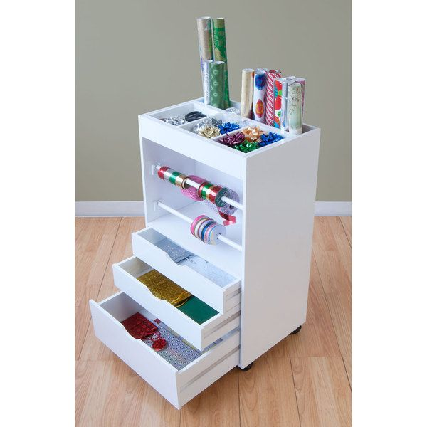 Gift Wrapping Cart White Arts Crafts Paper Ribbon Storage - Craft organizer cart on wheels