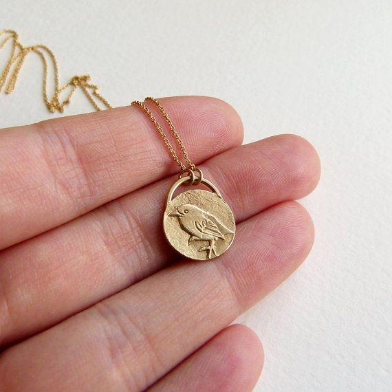 Gold bird necklace bird pendant animal charm 14k solid gold gold bird necklace bird pendant animal charm 14k solid gold mozeypictures Gallery