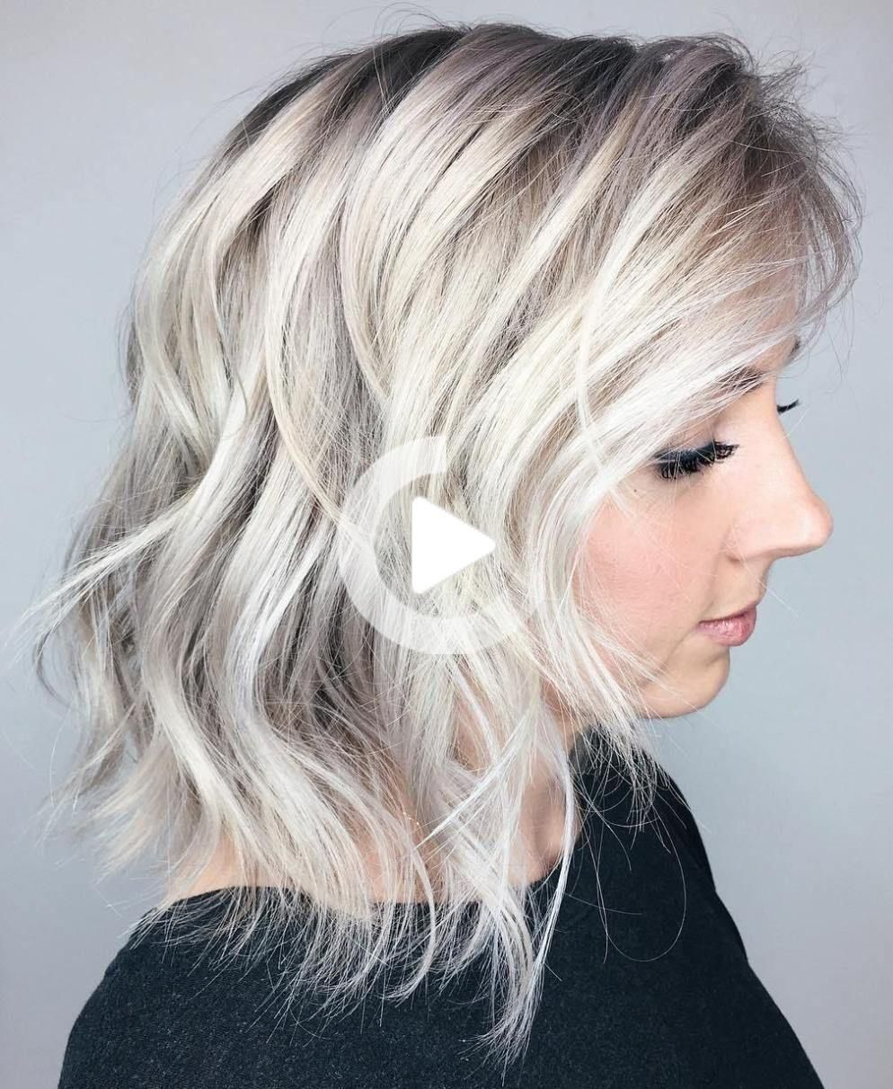 20 Inspiring Long Layered Bob Hairstyles –  Tousled Platinum Hairstyle