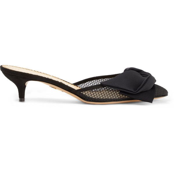 Charlotte Olympia Designer Shoes, Leather Kitten Heel Bow Mules