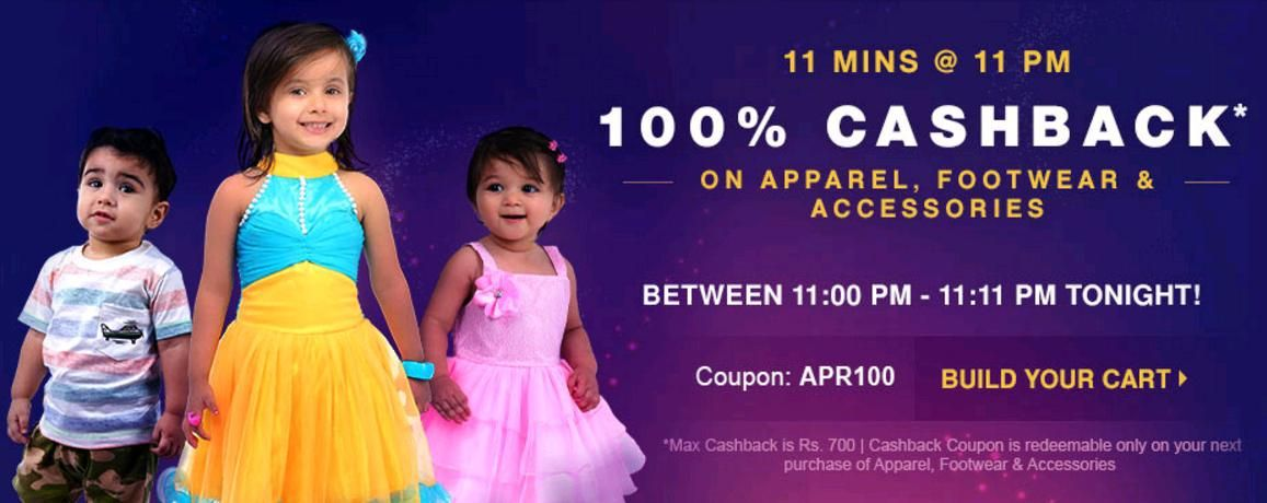 Firstcry 100% Cashback offers going on Apparel, Shoes, Clothes