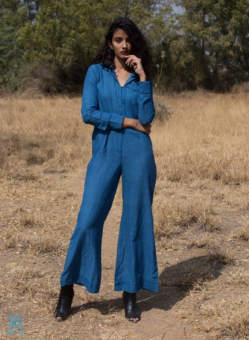 668866373afb Blue Retro Flared Jumpsuit Highlight your propensity for polish with this  khadi flared jumpsuit! Crafted