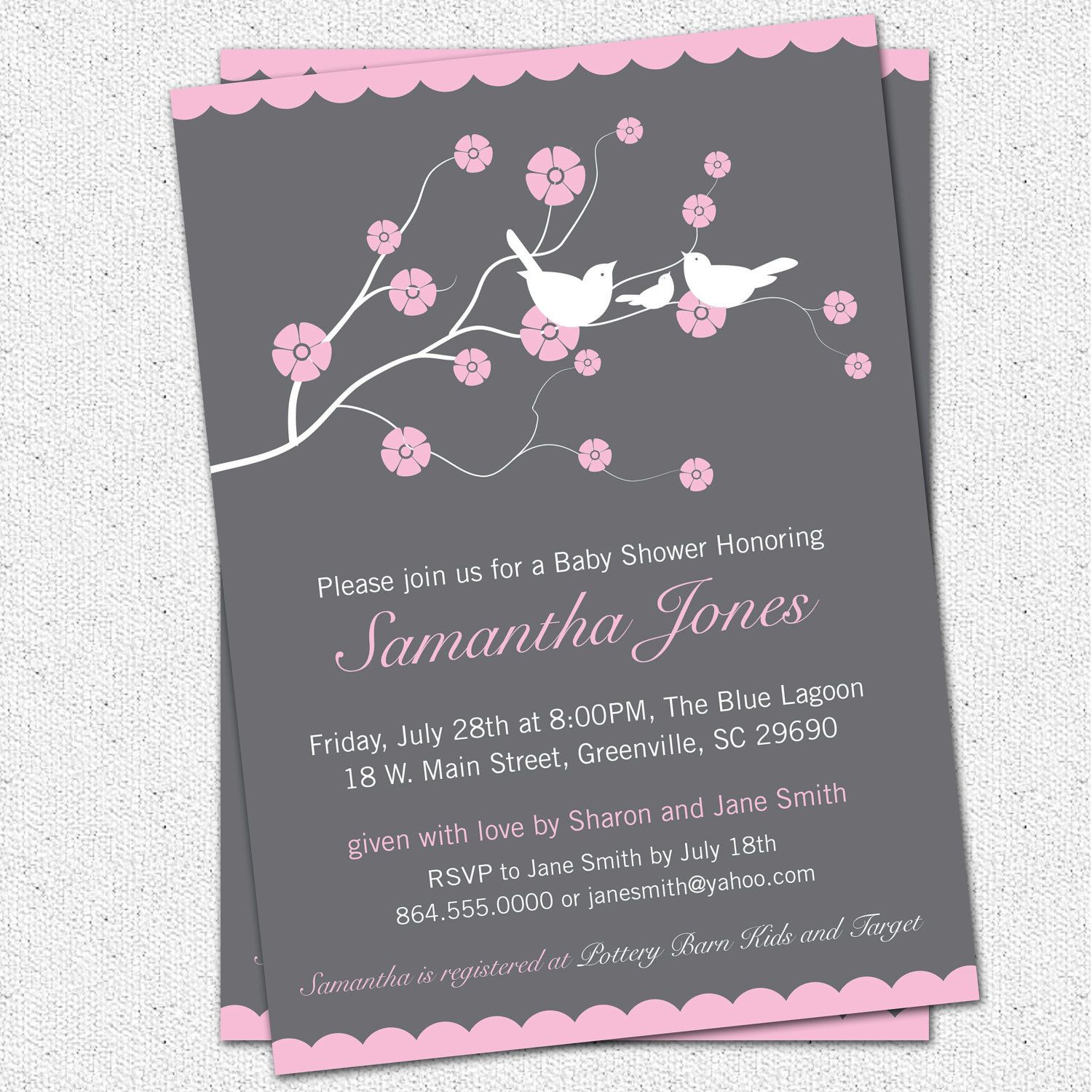 Printable Baby Shower Invitation Cherry Blossom, Birds, Girl, Pink ...