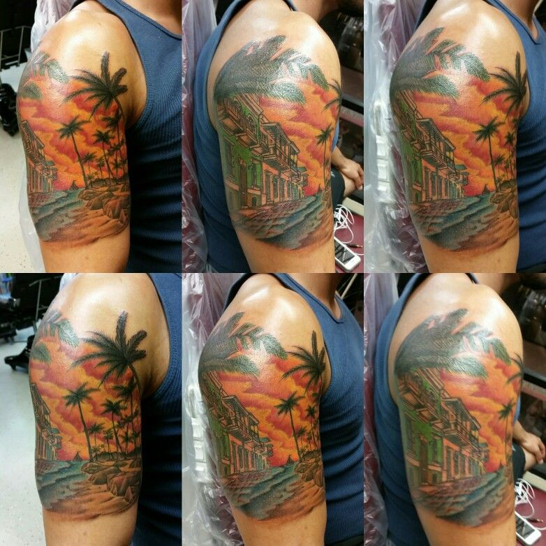 Beach tattoo by Jeffrey Ziozios at Bay City Tattoos in