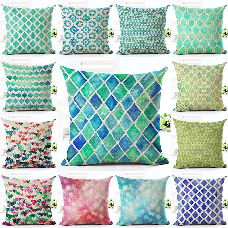 """Blue Leaf Coton Lin Housse De Coussin Throw Taie d/'oreiller canapé maison décoration 18/"""""""