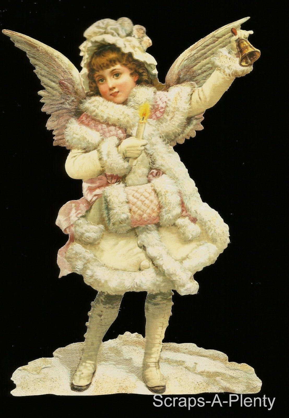 German Embossed Scrap Die Cut Large Winter Christmas Angel Stunning BK5107 | eBay