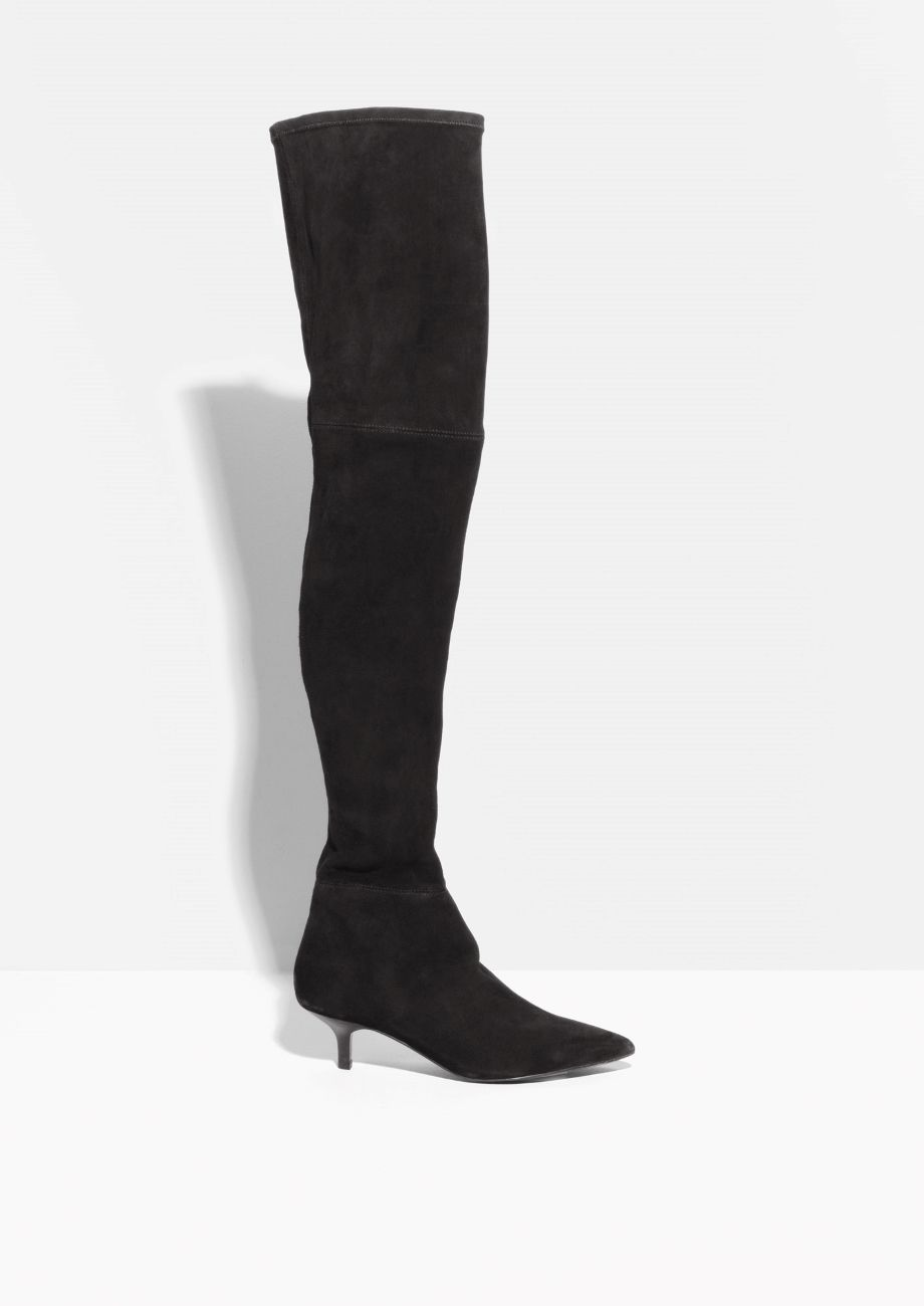 22478ea5e78   Other Stories image 1 of Kitten Heel Over The Knee Boots in Black ...