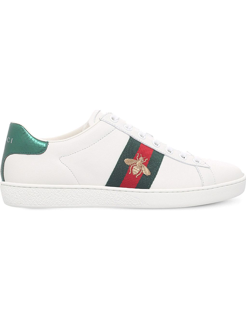 4feb5ab121a GUCCI New Ace bee-embroidered leather trainers  UKGiftGuide2017