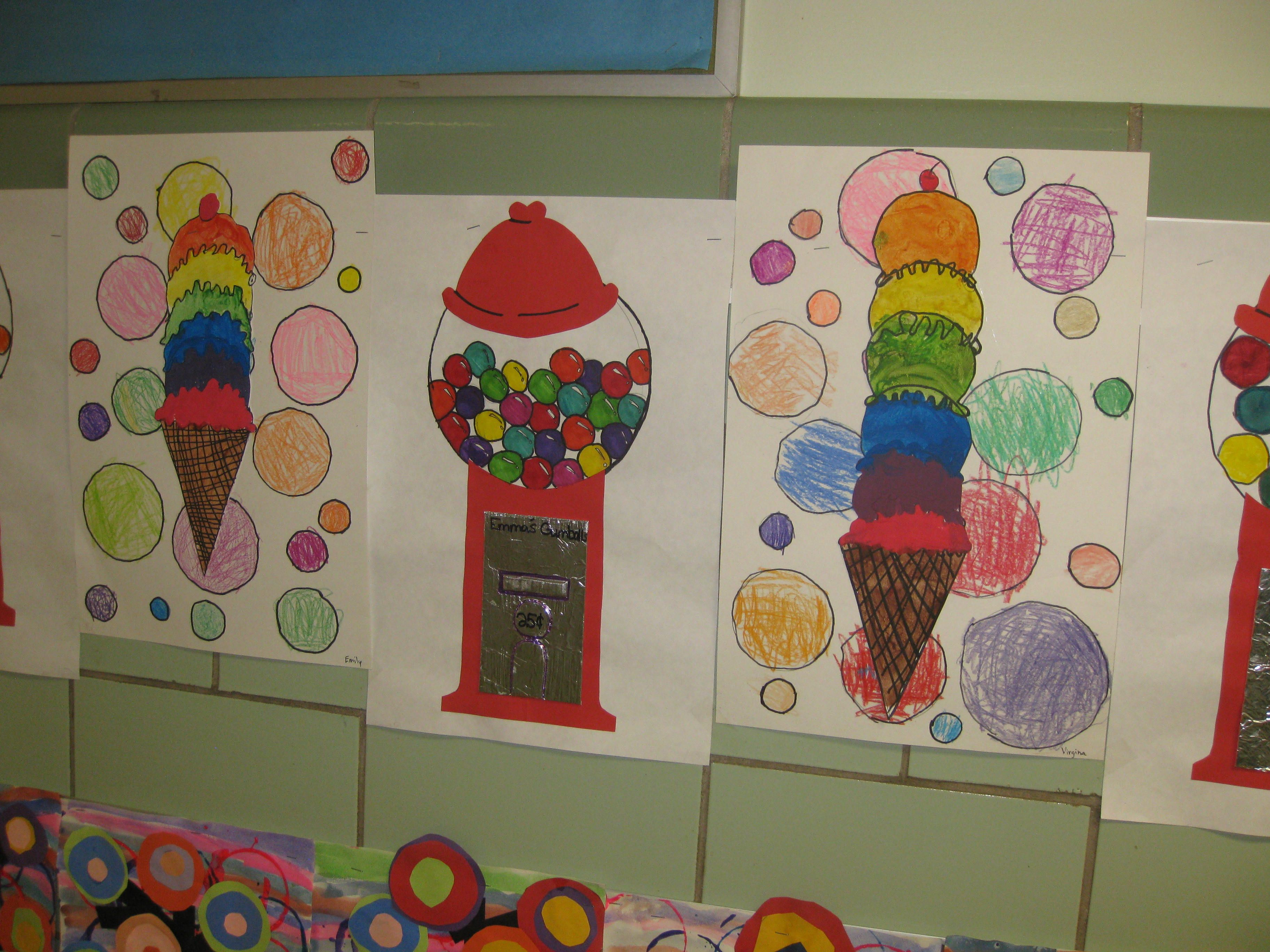 gumball machines-gr.3- collage and marker