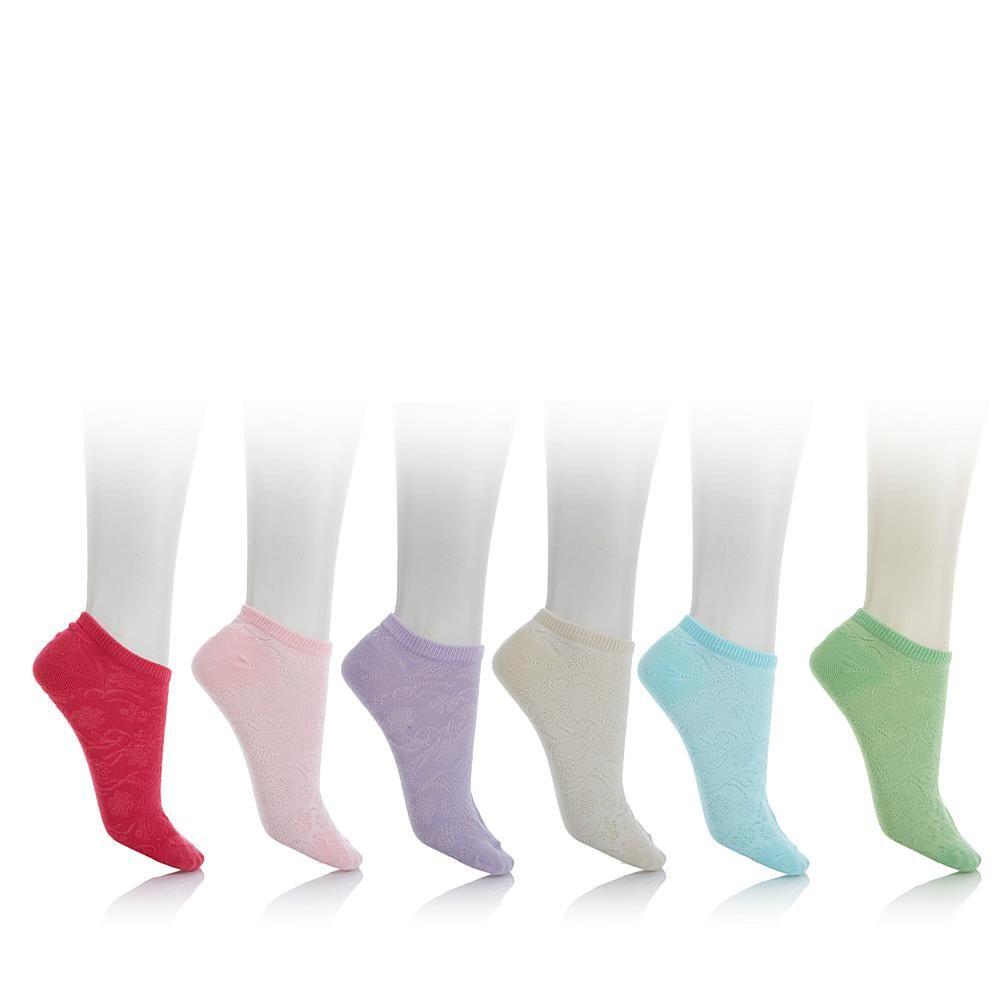 Curations Caravan 6-pack Floral Mesh No-Show Socks