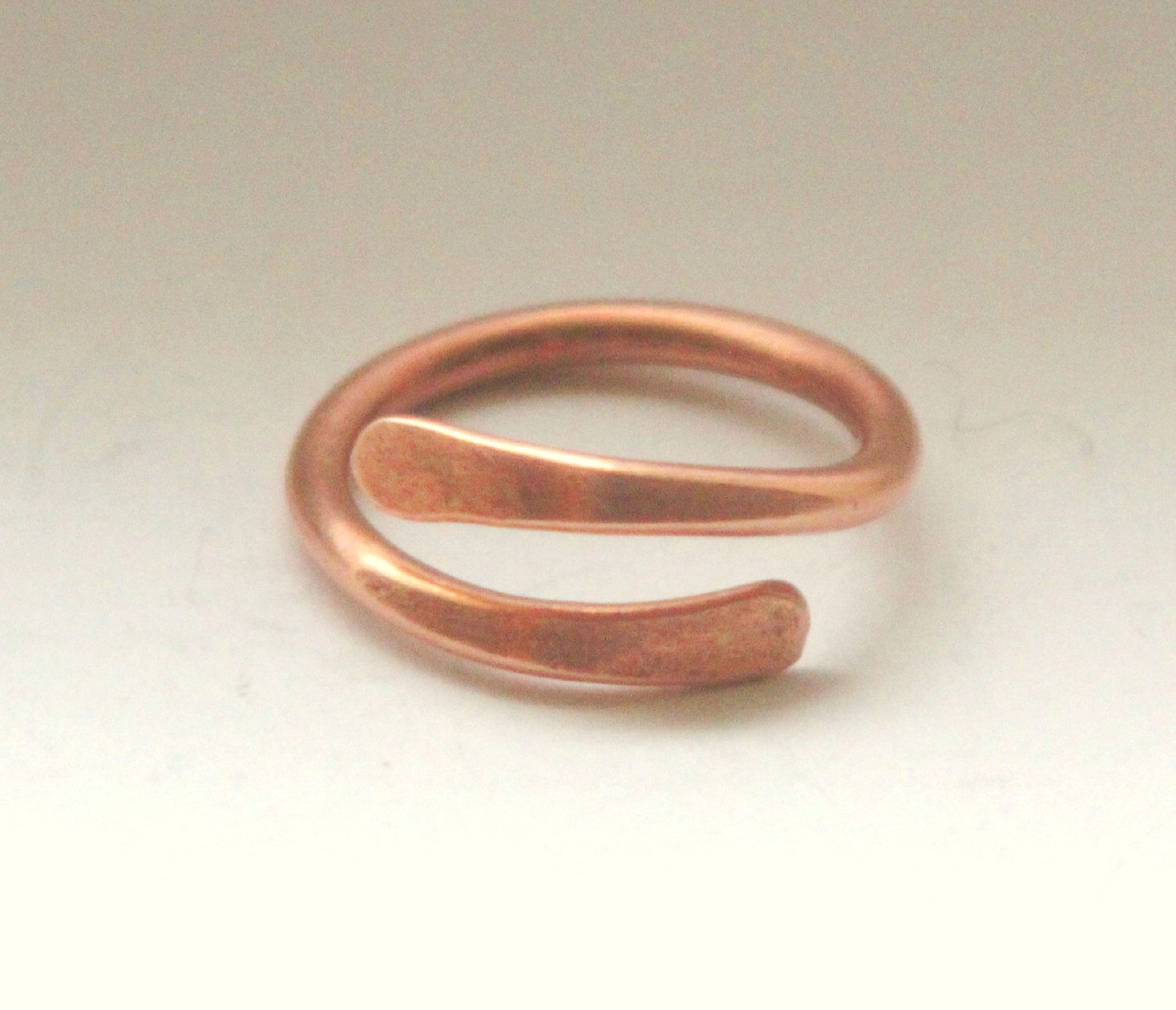 Copper Metal Overlap Ring. Custom Size Thin Copper Ring