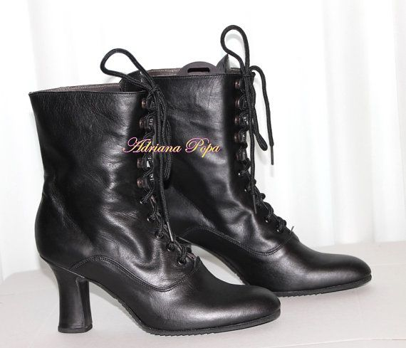 Granny boots Custom made boots Historical boots black suede leather Booties Edwardian boots Victorian Boots