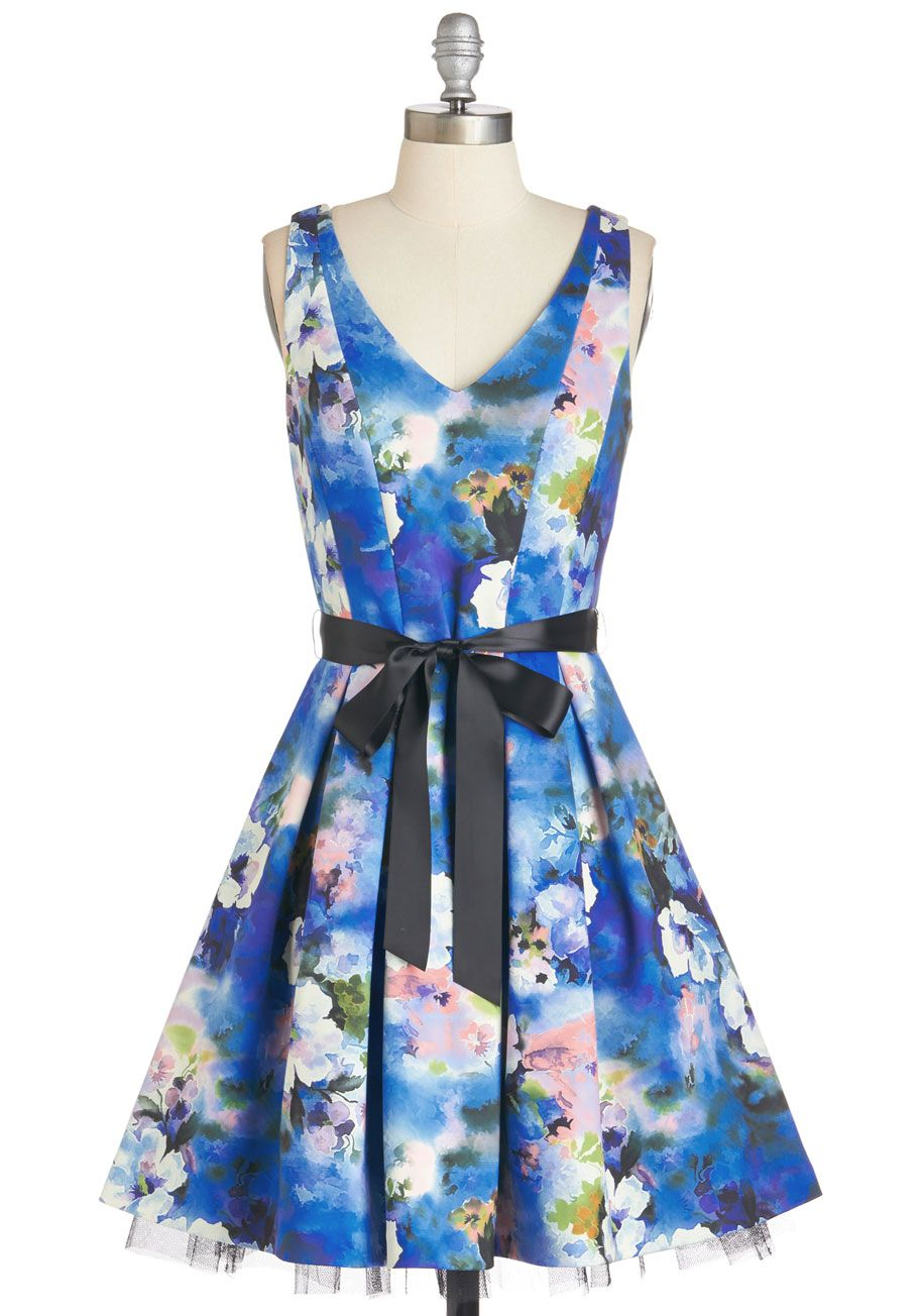 36b520659 Watercolors of the Wind Dress. Paint a picture of enchanting beauty in this  floral fit-and-flare!  blue  wedding  bridesmaid  prom  modcloth