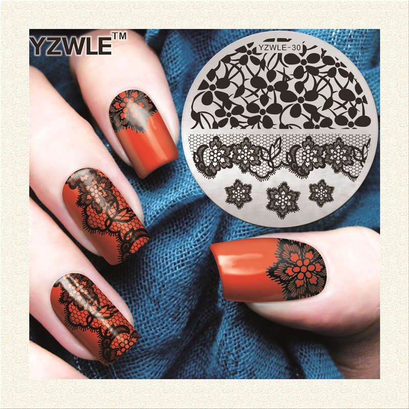 Lace Flower Designs Nail Template 2017 NEW Nail Art Plate Stainless ...