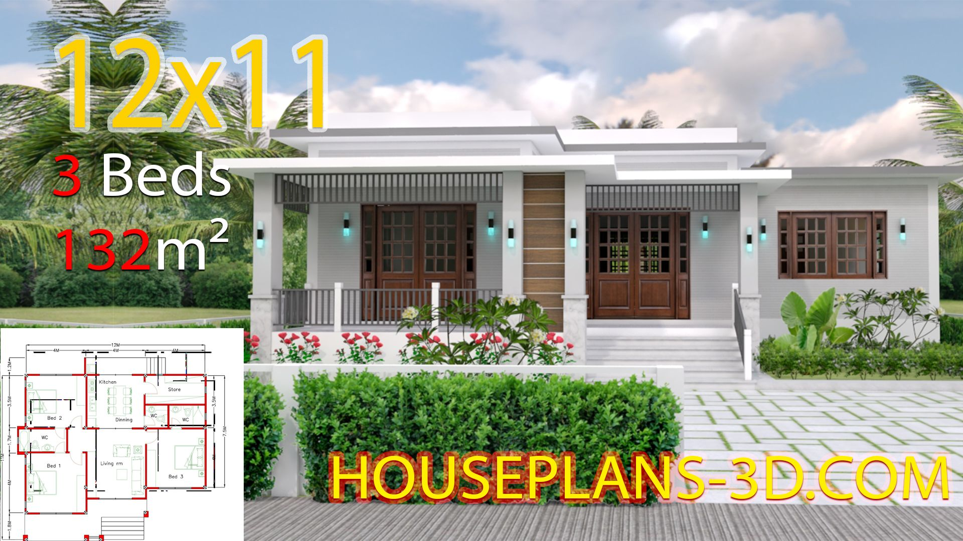 Home Design 12x11 With 3 Bedrooms Terrace Roof House Plans 3d House Plans House Design Hip Roof Design