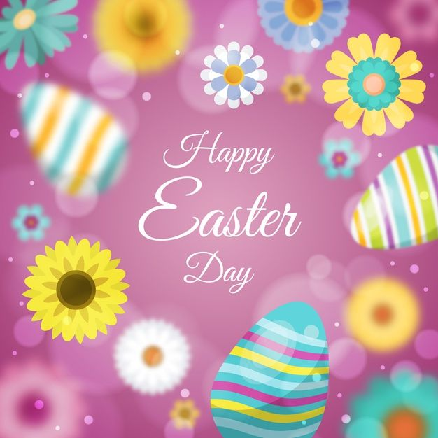 Blurred happy easter day with eggs Free   Free Vector