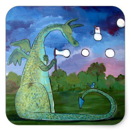 Whimsical Dragon Art Sticker Blowing Bubbles   Zazzle.com ...