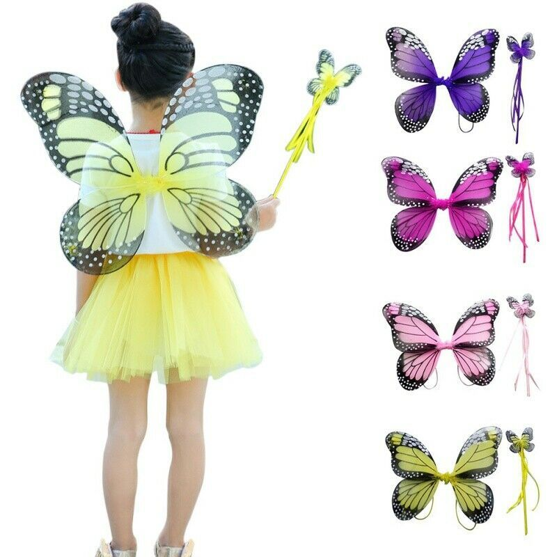 Double Folding Butterfly Wings Fairy Stick Props Kids Costume Party Stage Wear
