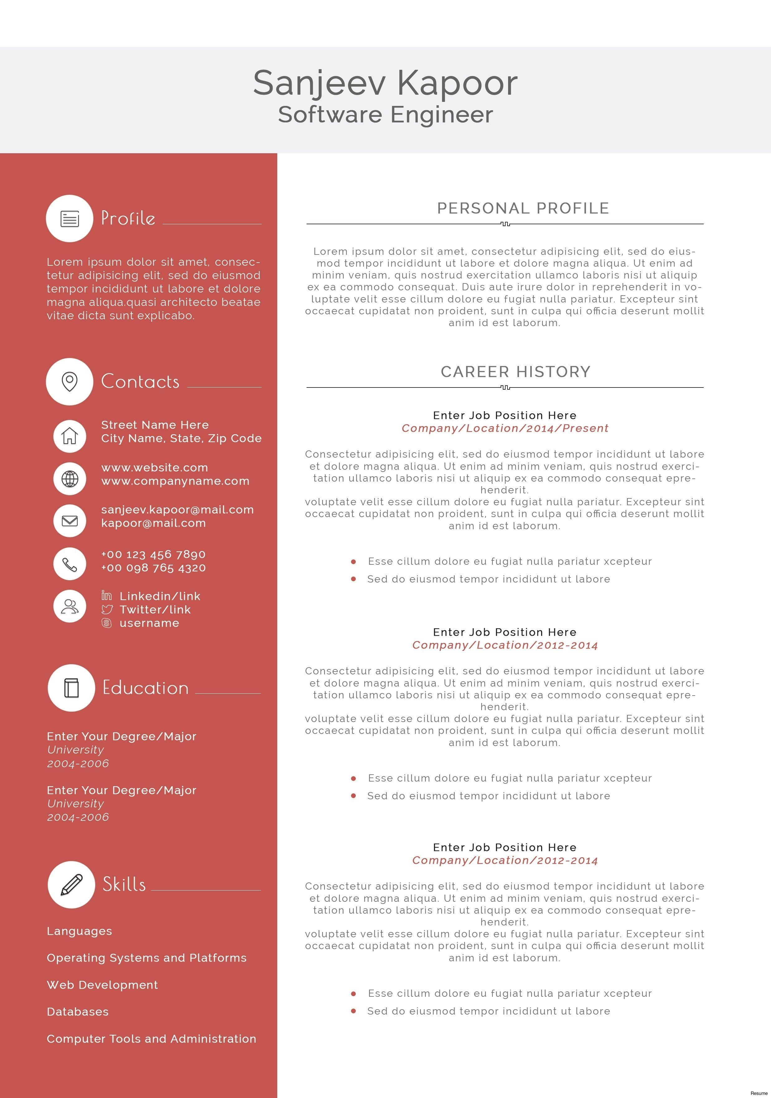 Free Resume Templates Software Engineer