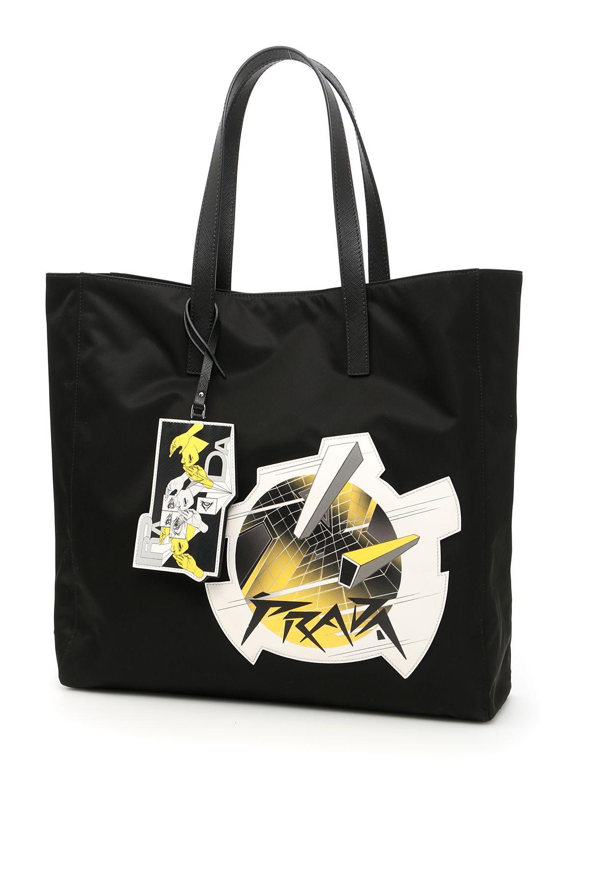 8a29d06c448 PRADA NYLON SHOPPING BAG WITH LOGO PATCH.  prada  bags  tote  leather   lining  denim  hand bags  nylon