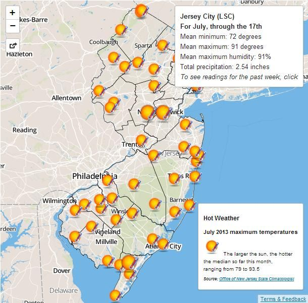 Interactive Google Map: Hot Weather in New Jersey | Custom Google ...