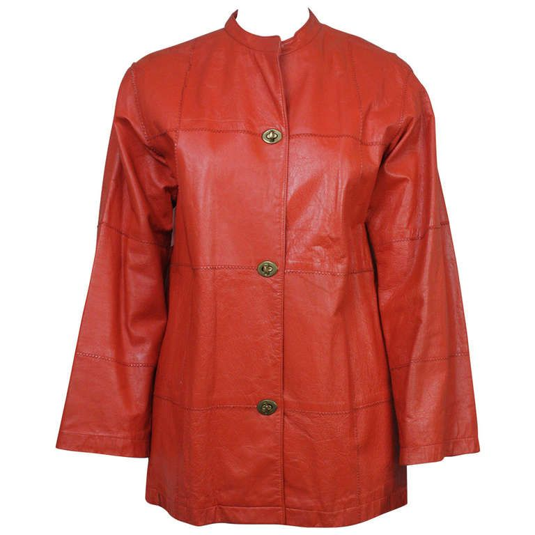 1970s Bonnie Cashin Orange Leather Jacket | From a collection of rare vintage jackets at http://www.1stdibs.com/fashion/clothing/jackets/