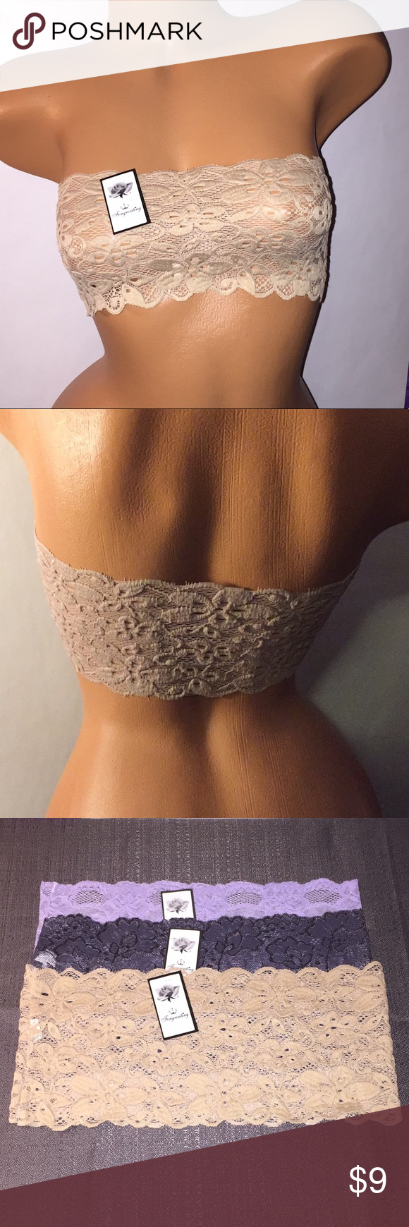 2bbaef1fe45 NWT 3 Lace Tube Tops Bandeau Stretch Strapless OS NWT 3 Lace Tube Tops  Bandeau Stretch