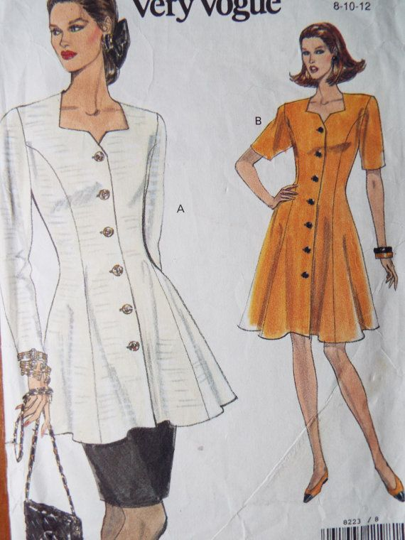 Vintage 1980s Very Easy Vogue Sewing Pattern 8223 8 10 12 Dress ...