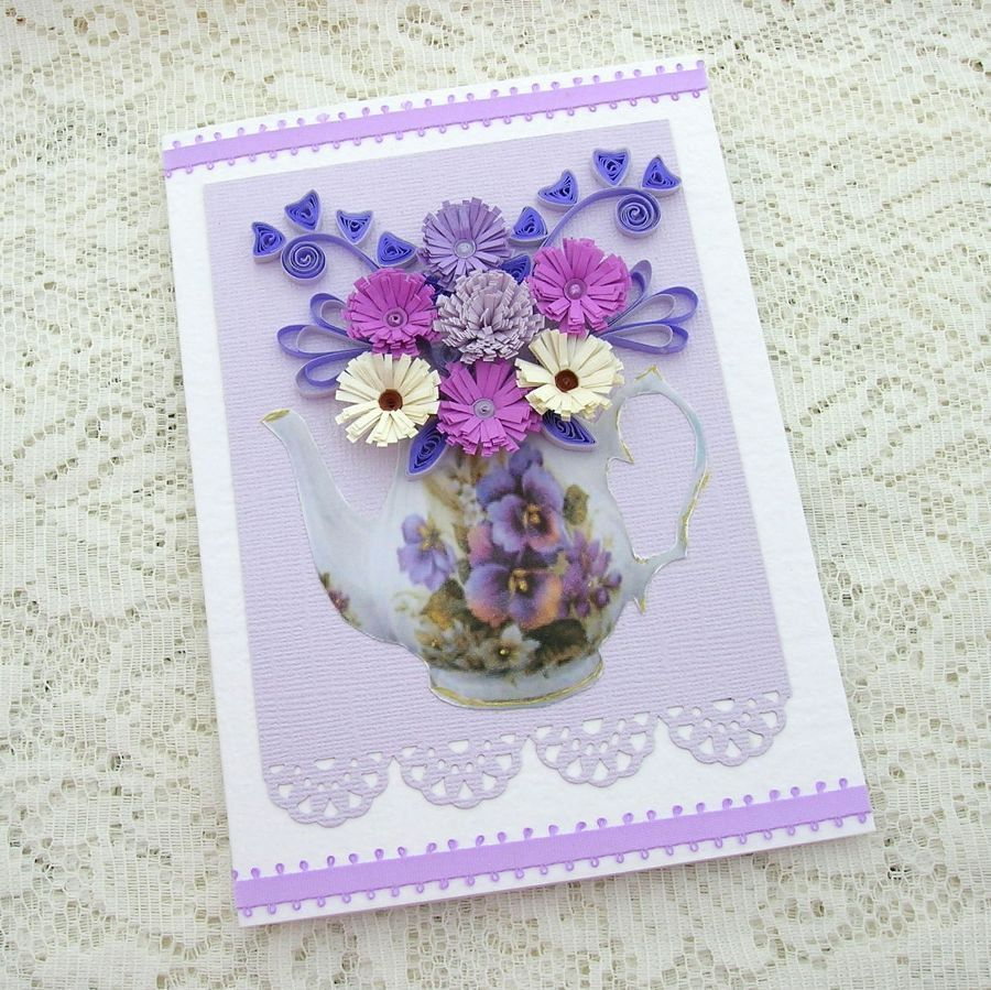 Quilled christmas cards quilling greeting card paper quilled quilling greeting card paper quilled teapot filled with purple flowers birthday tea party handmade by enchanted quilling on etsy kristyandbryce Images
