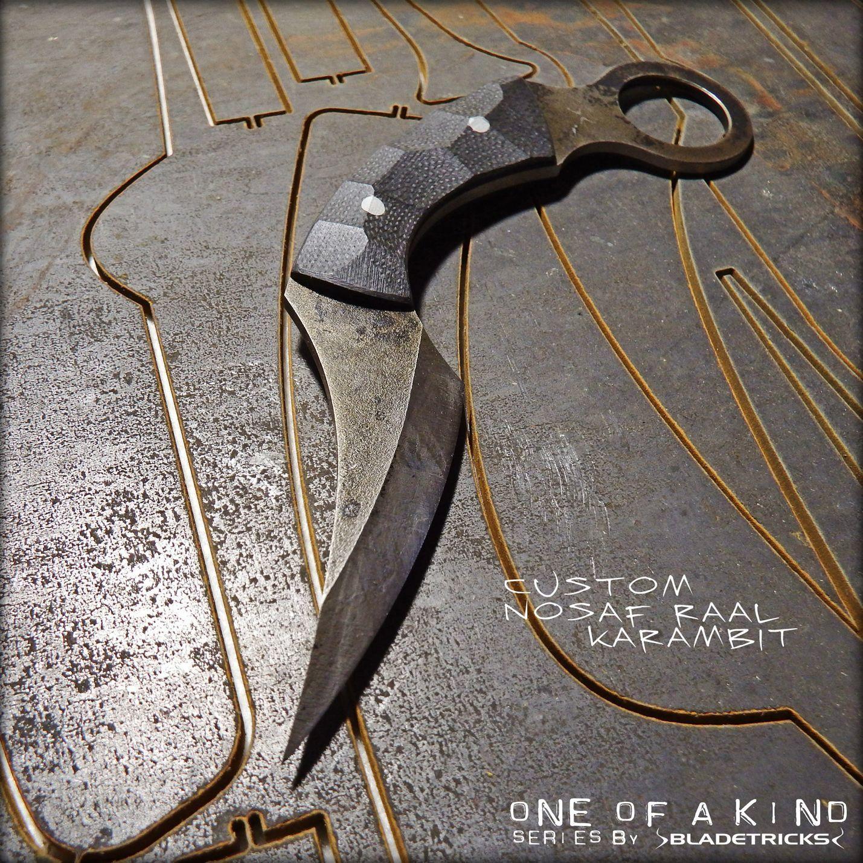 Knife maker Bladetricks Custom Nosaf Raal Karambit, black sculpted ...