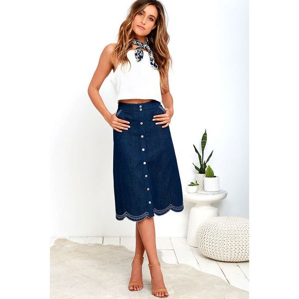 JOA Spontaneity Medium Wash Denim Midi Skirt ($83) ❤ liked on ...