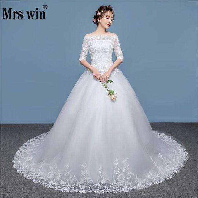 Wedding Dresses Wedding Dress 2019 New Mrs Win Half Sleeve Lace Up Ball Gown Luxury Lace Embroidery Wedding Dresses Classic Vestido De Noiva F