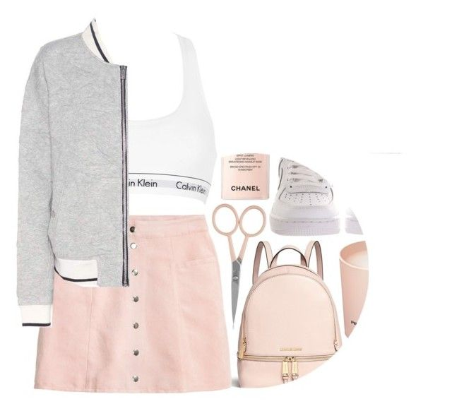 """""""can I not care anymore"""" by maevekaterina ❤ liked on Polyvore featuring Michael Kors, Anastasia Beverly Hills, NIKE, Prada, Chanel, H&M, Calvin Klein Underwear and rag & bone"""