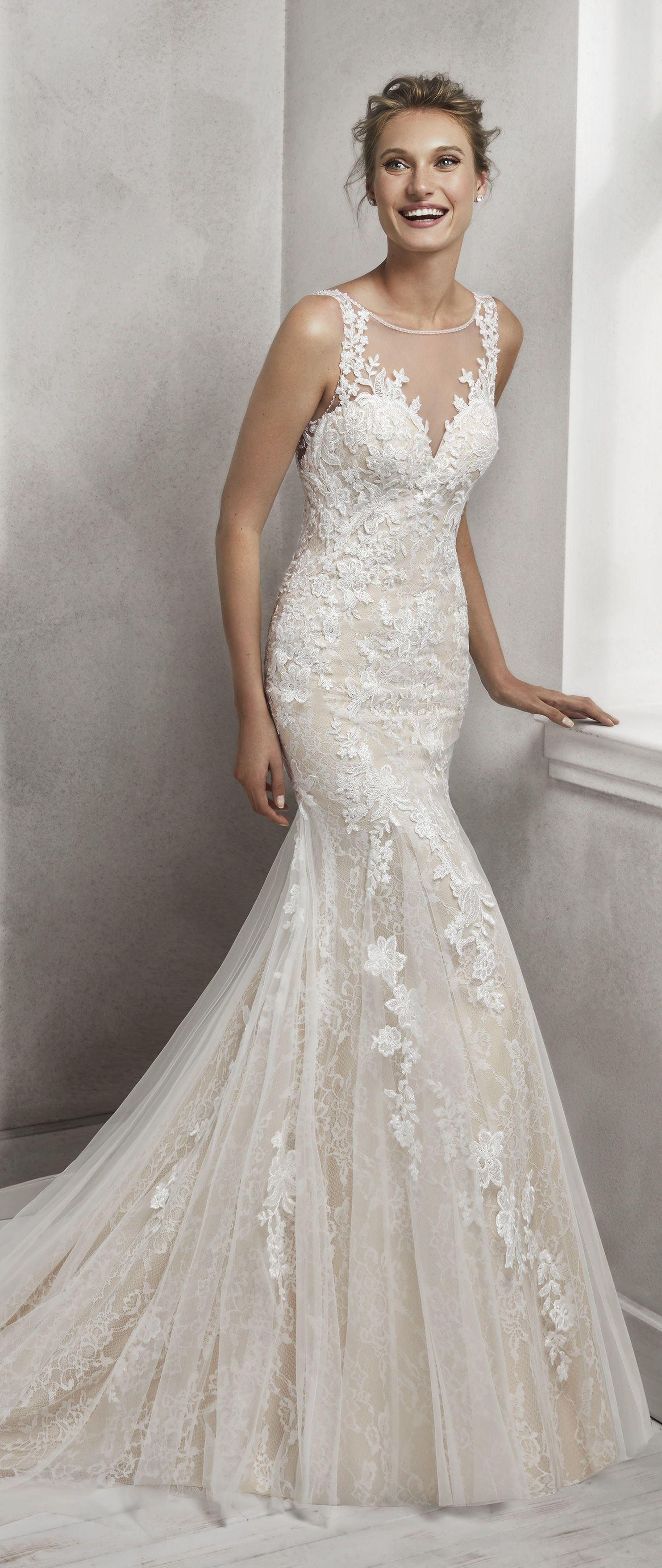 f2a9cd0c9d5d2 [ #ad ] Wedding Dress by Luna Novias. Hayden is a Mermaid-style lace bridal  gown with illusion neckline and low back, in nude and natural.
