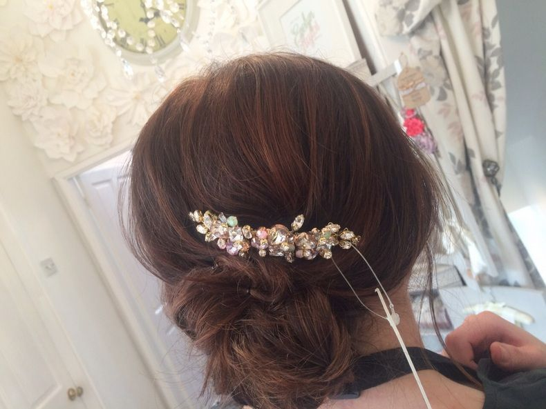 wedding hair comb,Nieve Couture coloured bridesmaids hair inspo,  Holmfirth West Yorkshire 01484 766160