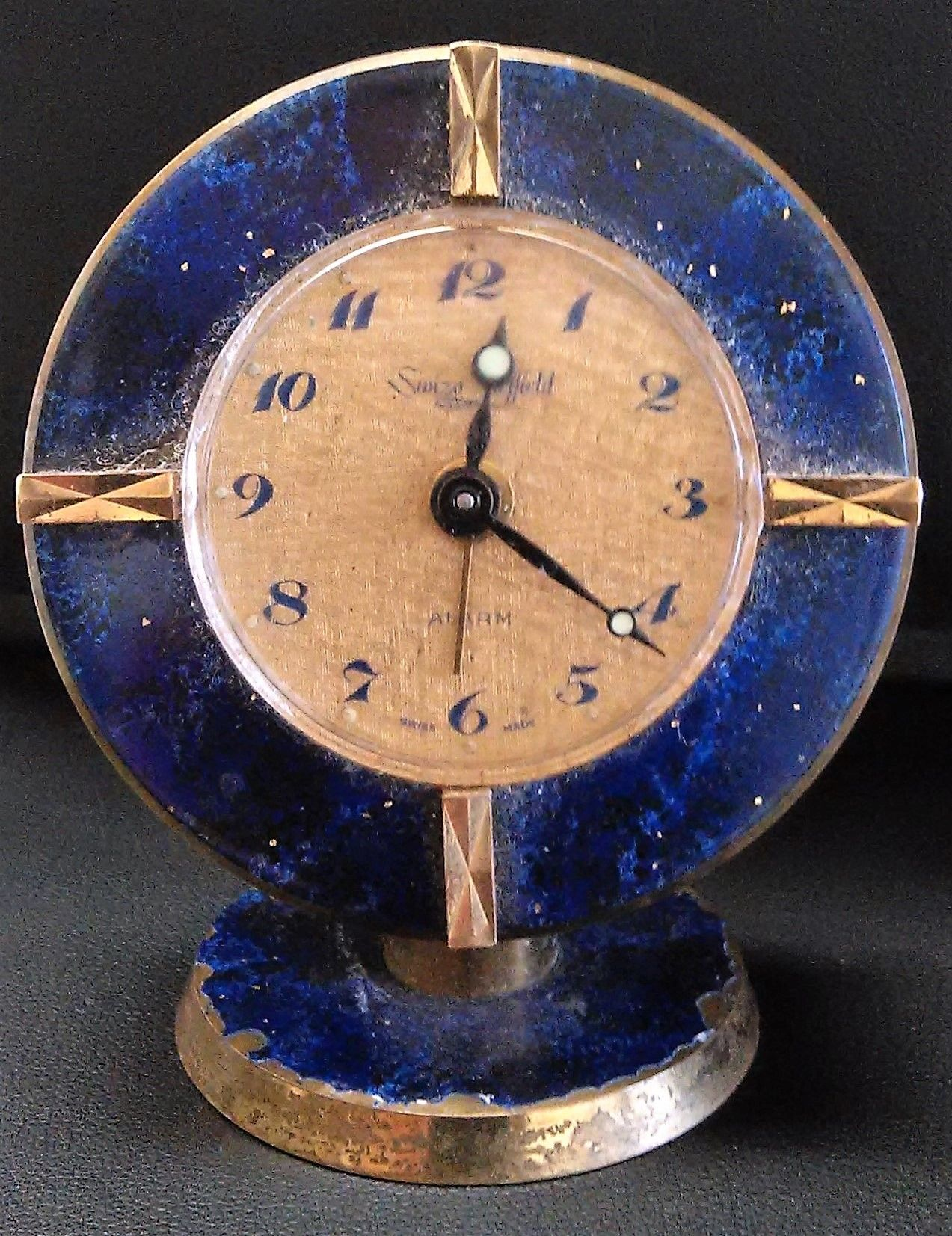Vintage Clock Repair Of The Week 1950 S Swiza Sheffield Wind Up Alarm With Blue Ceramic Bezel
