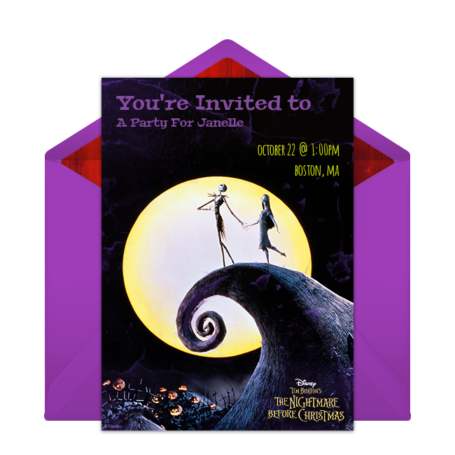 Free The Nightmare Before Christmas Invitations Disney Halloween