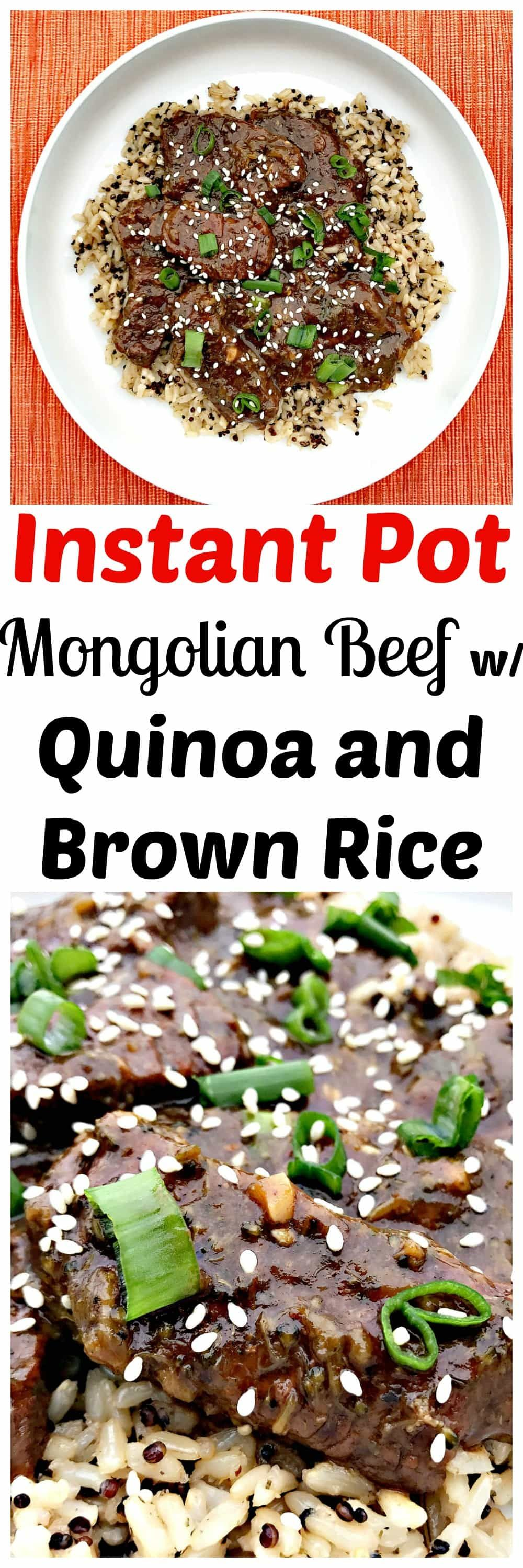 Instant Pot Mongolian Beef With Quinoa And Brown Rice Instant Pot Recipes Beef Kabob Recipes Instapot Recipes